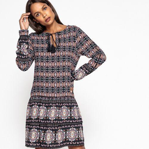 Prosta sukienka z nadrukiem, krótka, rękaw 3/4 (5710639549546)