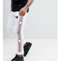 skinny joggers in white with logo side stripes exclusive to asos - white, Good for nothing, XS-XL