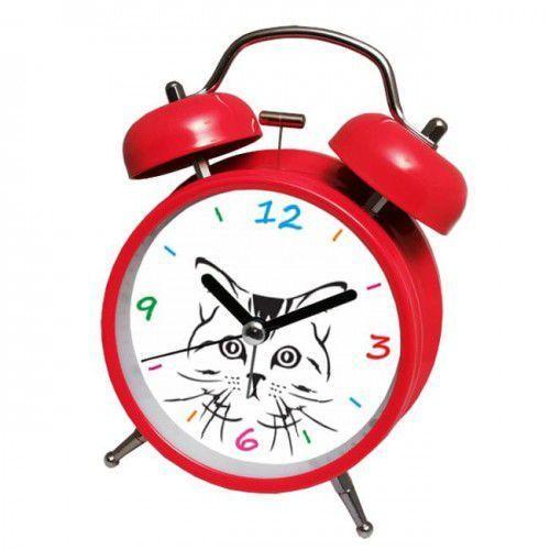 Super cichy budzik metalowy z dzwonkami #kot R, ATB045RE