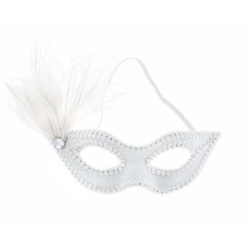 Maska karnawałowa wenecka biała z piórkiem - 1 szt. - produkt z kategorii- Pozostałe