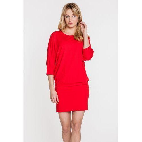 Dopasowana, czerwona sukienka z dzianiny - Bialcon