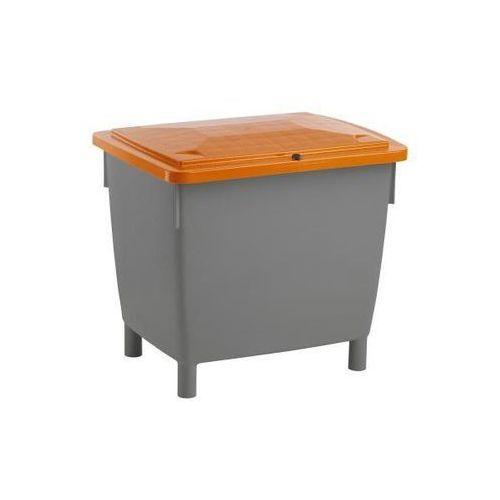 Pojemnik prostokątny, z pokrywą na zawiasach, poj. 210 l, pojemnik bazaltowo-sza