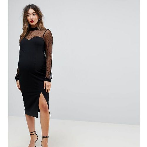 long sleeve dobby mesh sweetheart neck midi dress - black, Asos maternity