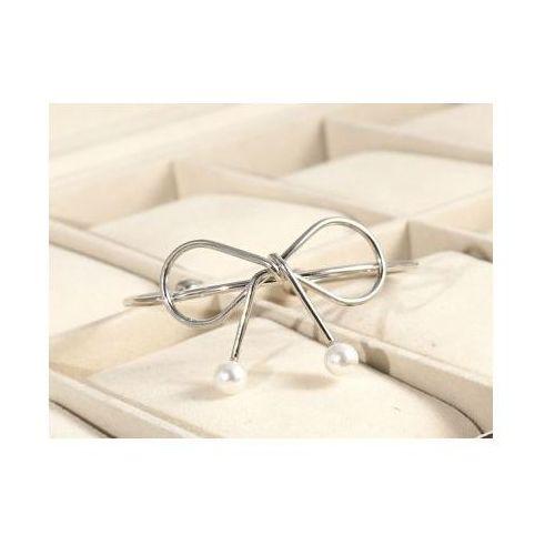 Bransoletka obręcz kokardka z perłami srebro bo43s marki Kasandra