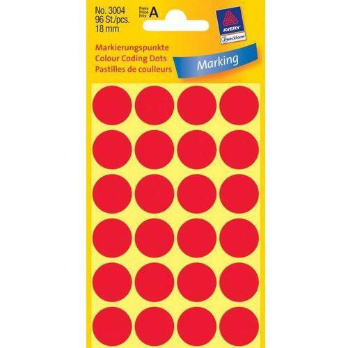 Kółka samoprzylepne  3004 18mm/96szt. czerwone marki Avery zweckform