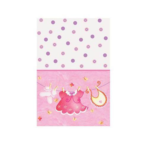 Obrus urodzinowy na Baby Shower dla dziewczynki - 137x213 cm - 1 szt.