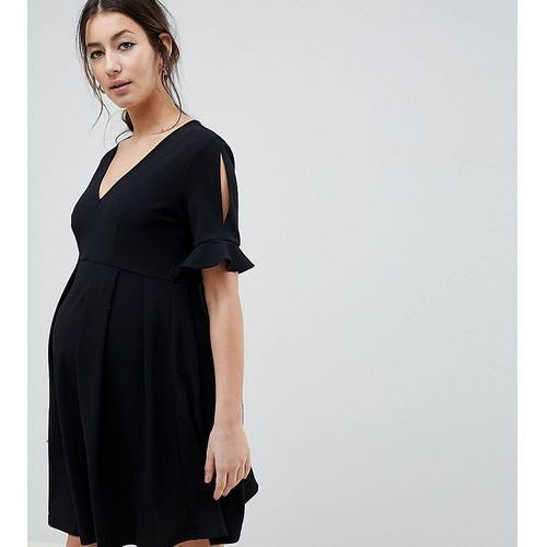 Asos maternity Asos design maternity mini v neck smock dress with frill cuff - black
