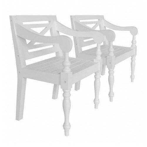 Mahoniowe krzesła tarasowe amarillo 2 szt - białe marki Elior