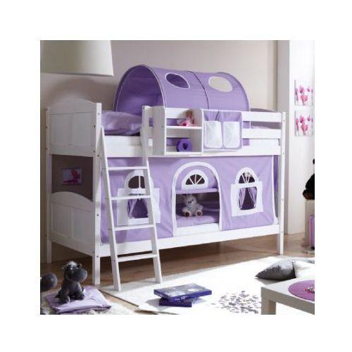 Ticaa kindermöbel Ticaa łóżko piętrowe erni country dworek białe drewno sosnowe kolor fioletowo-biały (4250393871848)