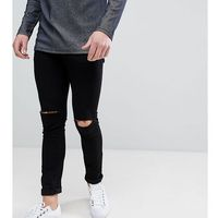 Noak Super Skinny Jeans With Knee Rips In Black - Black