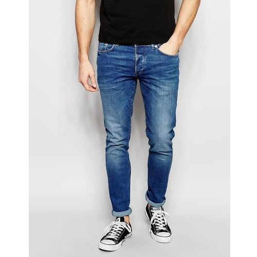 skinny fit jeans in mid wash blue - blue, River island