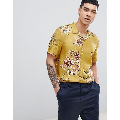 River Island Revere Collar Shirt With Floral Print In Mustard - Yellow, kolor żółty
