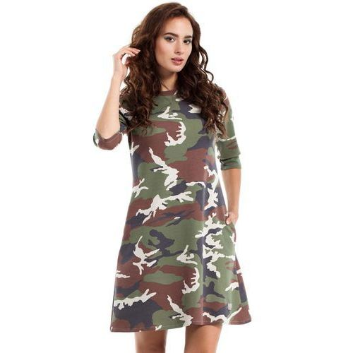 Sukienka Trapezowa o Linii A z Printem Moro Model 1