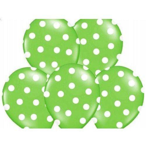 Party deco Balony zielone w białe kropki - 37 cm - 5 szt. (5907509901690)