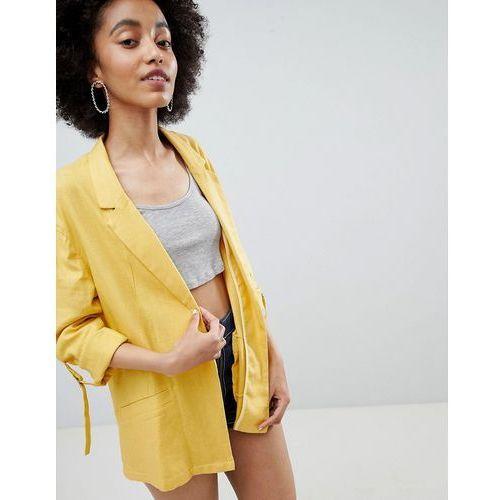 Bershka linen blazer in yellow - Yellow, kolor żółty