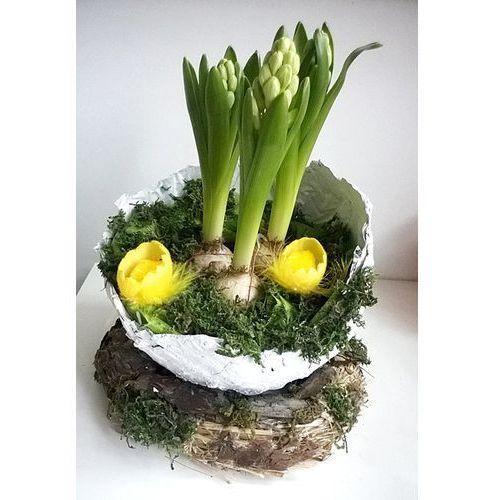 Wielkanocny stroik z hiacyntami wyprodukowany przez Kwiat lotosu