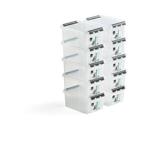 Pojemnik plastikowy z pokrywą, 8 L, 10 szt., 340x250x160 mm, przezroczysty