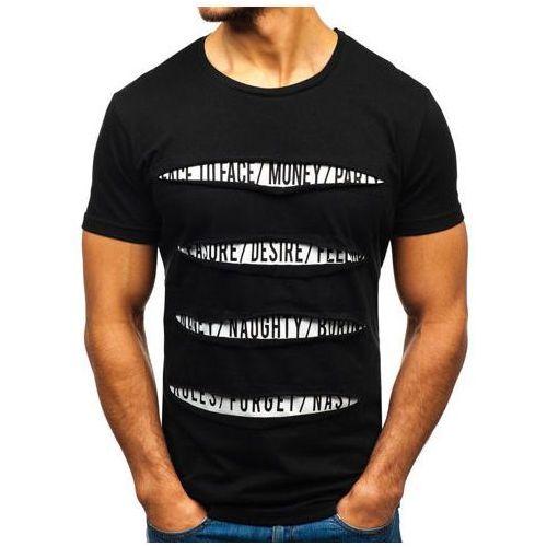 Bolf T-shirt męski z nadrukiem czarny 1881