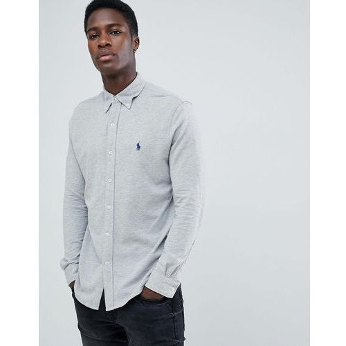 slim fit pique shirt player logo button down in grey marl - grey marki Polo ralph lauren