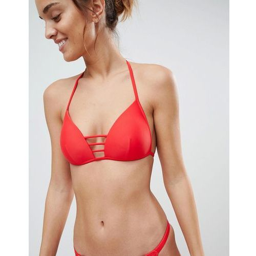 South beach red moulded triangle bar detail bikini set - red