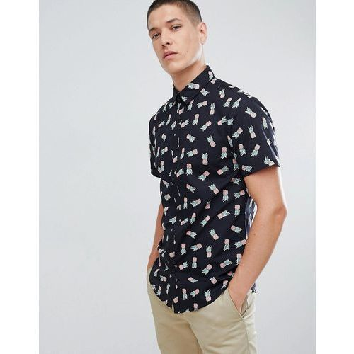 New Look Regular Fit Shirt With Pineapple Print In Black - Black