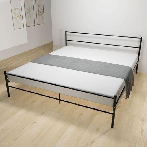 Vidaxl Metalowa Rama łóżka 180 X 200 Cm Czarna