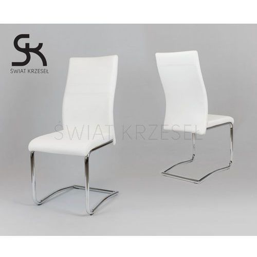 SK DESIGN KS021 BIAŁE KRZESŁO Z EKOSKÓRY NA CHROMOWANYM STELAŻU - Biały, kolor biały