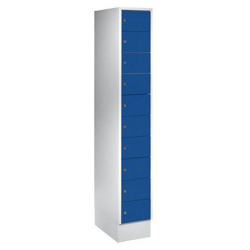 Szafa z małymi schowkami, 10 półek, wys. x szer. 1850x300 mm, kolor drzwi: niebi