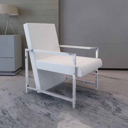 Vidaxl fotel z chromowaną ramą i obiciem ze skóry syntetycznej, biały (8718475874270)