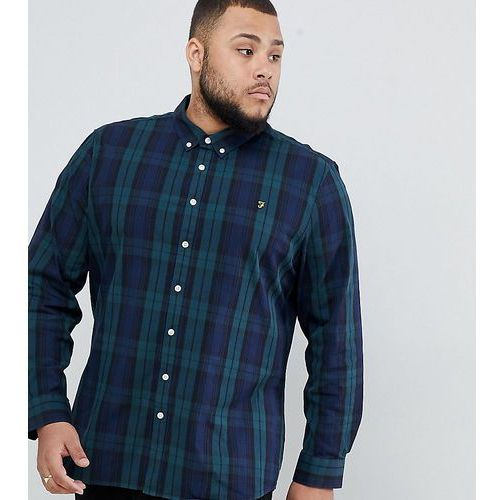 Farah slim fit check shirt with in navy watkins Exclusive at ASOS - Navy