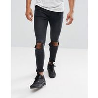 boohooMAN Super Skinny Jeans With Knee Rips In Black Wash - Black, jeans