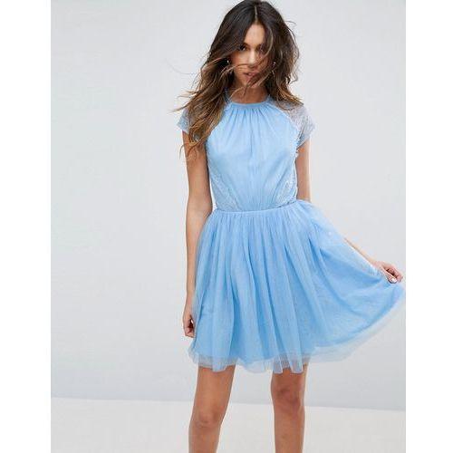 Asos premium lace tulle mini prom dress - blue