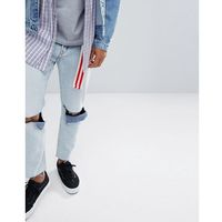 Cheap Monday In Law Tapered Jeans in Tom Blue with Blown Out Knee - Blue, kolor niebieski