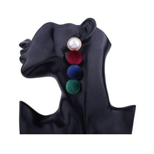 Kasandra Kolczyki wiszące półkule welurowe kolorowe k751kol