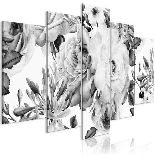 Obraz - Różana kompozycja (5-częściowy) szeroki czarno-biały