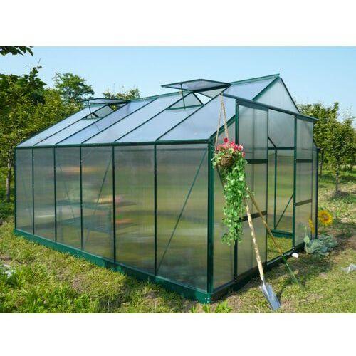Szklarnia ogrodowa z poliwęglanu o pow. 13 m² kalida z podstawą - zielona marki Vente-unique