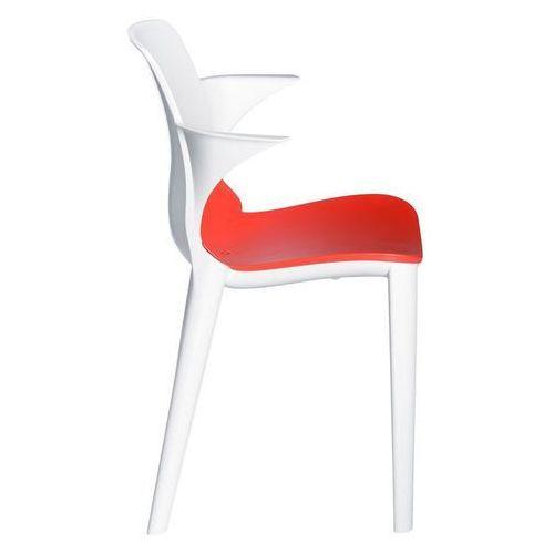 Krzesło z podł. Lyza biało - czerwone, kolor biały