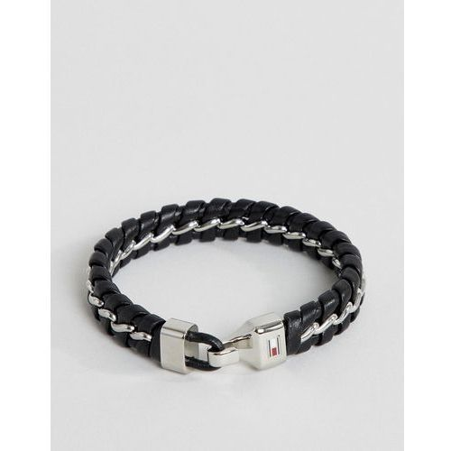 Tommy Hilfiger metal chain & braided leather bracelet in black - Black, kolor czarny