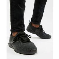 New Look Mixed Texture Trainers In Black - Black, kolor czarny