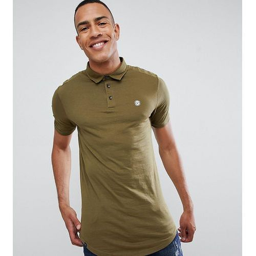 Le breve tall curved hem polo with back panelling - green