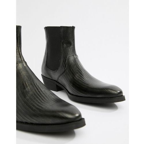 cuban heel western boots in black leather with snake texture - black marki Asos design