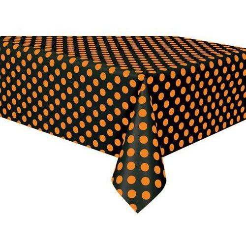 Obrus urodzinowy czarny w pomarańczowe kropki - 137 x 274 cm - 1 szt.