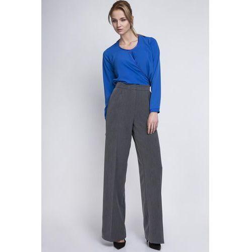 Grafitowe eleganckie spodnie z szerokimi nogawkami w kant, Lanti, 36-42