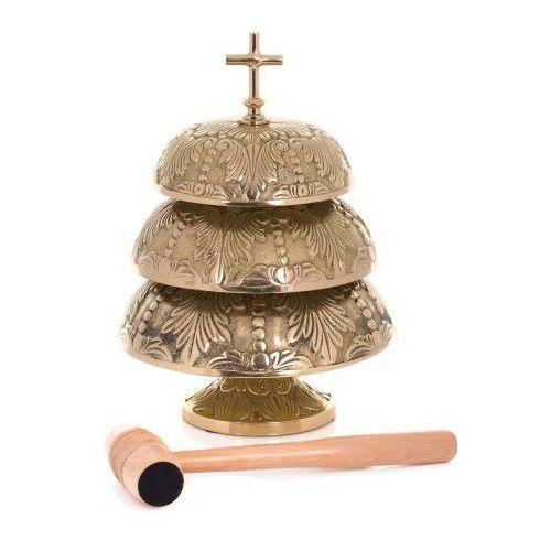 Zdobiony gong mszalny mosiężny, potrójny