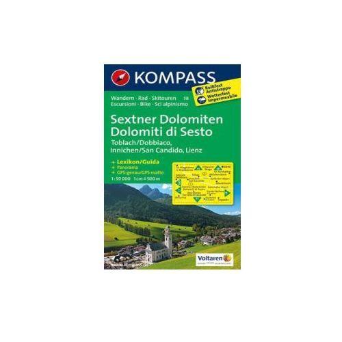 Sesto Dolomity Toblach Innichen mapa 1: 50 000 Kompass (2013)