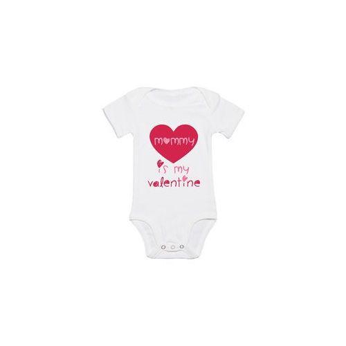 Body dziecięce Mommy is my Valentine, kolor biały
