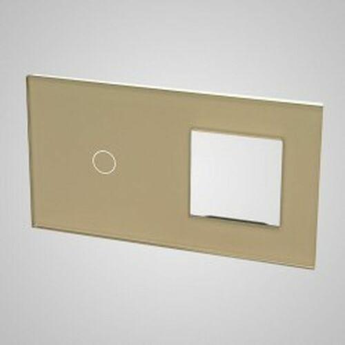 Els elektrotechnika sp. z o.o. sp. k. Touchme duży panel szklany, 1 x łącznik pojedynczy, 1 x ramka, złoty tm701728g