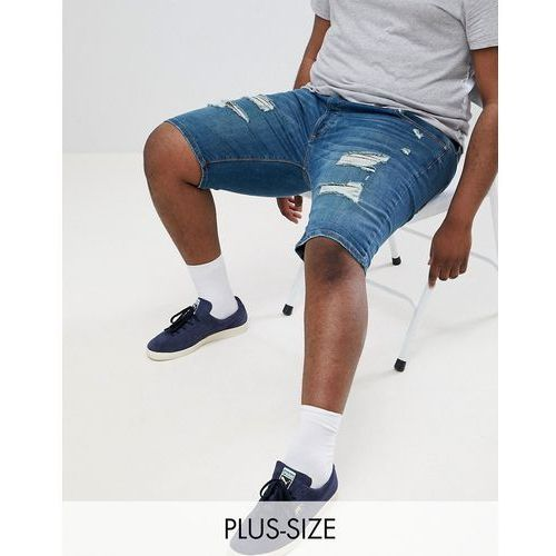 big & tall skinny ripped denim shorts in blue wash - blue, River island