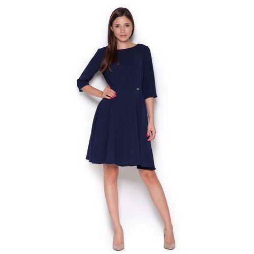 Granatowa Rozkloszowana Sukienka przed Kolano, kolor niebieski