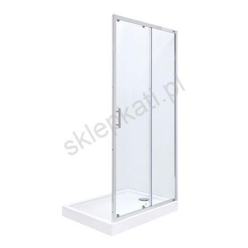 ROCA TOWN drzwi dwuczęściowe - przesuwne 100x195 cm, profile CHROM, szkło TRANSPARENTNE z powłoką Maxi Clean AMP181001M (8433290332797)